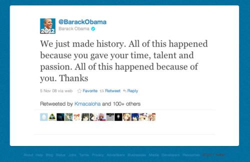 Il celebre tweet con cui Barack Obama annunciò la vittoria e ringraziò i followers. SocialWebMax