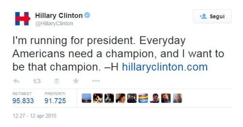 Hillary Clinton annuncia su Twitter la sua candidatura a presidente USA. Userà anche Periscope? - SocialWebMax