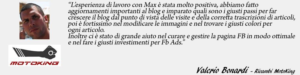 Valerio Bonardi - Ricambi MotoKing endorsement - SocialWebMax