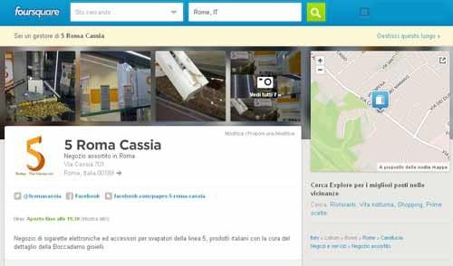 Account Foursquare creato per il negozio 5 Roma Cassia - SocialWebMax