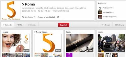 Pagina Pinterest creata per il negozio 5 Roma Cassia - SocialWebMax