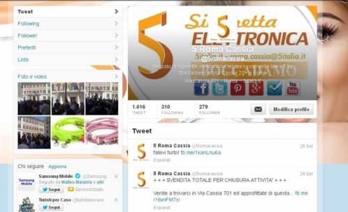 Account Twitter creato per il negozio 5 Roma Cassia - SocialWebMax
