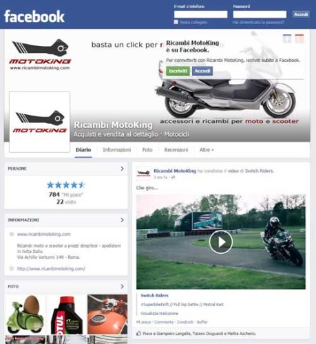 RicambiMotoKing Pagina Facebook 17-04-2015 - SocialWebMax