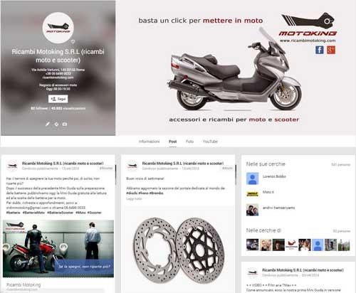 RicambiMotoKing Pagina Google+ - SocialWebMax