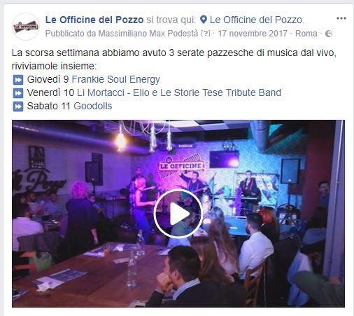 Le Officine del Pozzo Facebook video serate - SocialWebMax